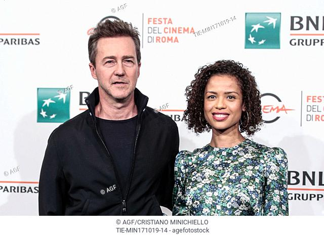 Edward Norton, Gugu Mbatha Raw during 'Motherless Brooklyn' film premiere, Rome Film Fest, Rome 17 Oct 2019