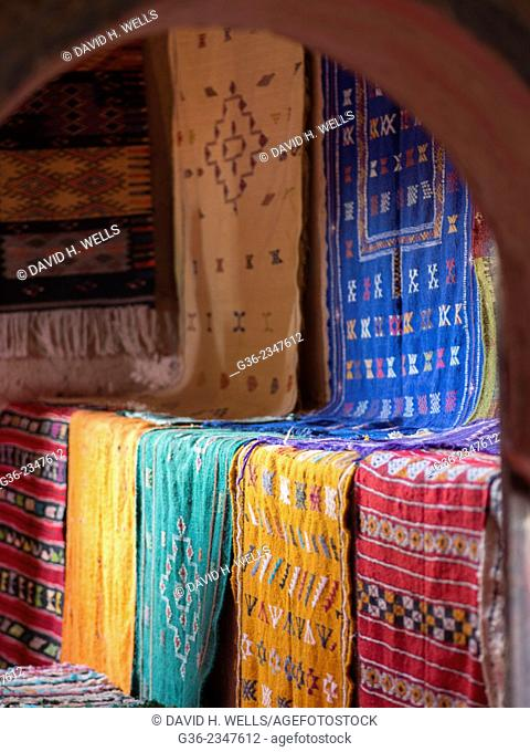 Carpet for sale at market stall, in Ait Ben Haddou, Morooco