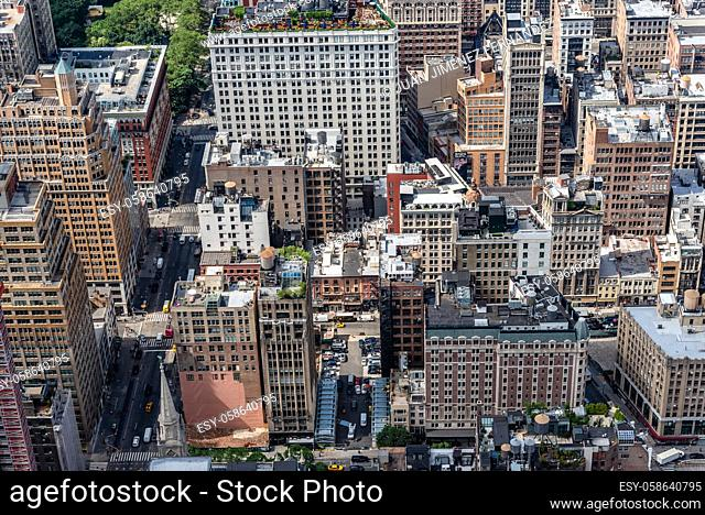 Aerial View of Manhattan. . Residential blocks from above. Travel to New York City, business and economy concepts