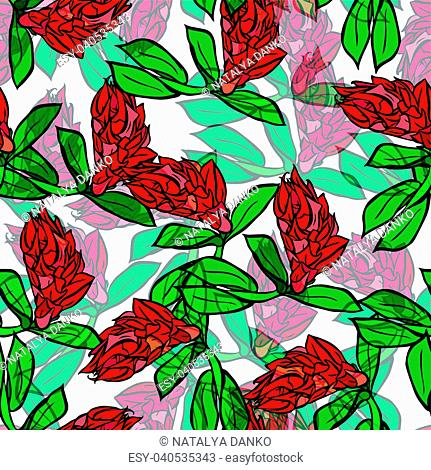 branch with red flowers and green leaves, seamless pattern isolated on white background