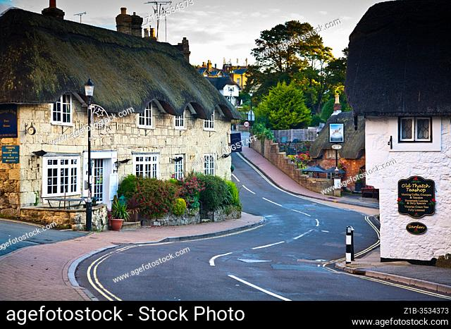 Narrow street through Shanklin Old Village on the Isle of Wight