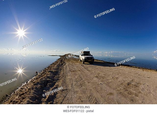Africa, Namibia, Etosha National Park, Car on lakeshore
