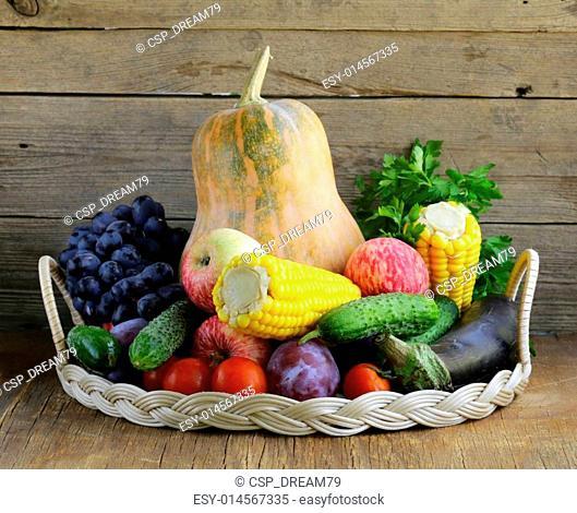 fall farm harvest - pumpkins, corn