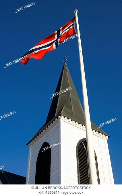 Norwegian flag flying outside the Norwegian church in Cardiff Bay, Wales
