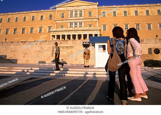 Greece, Athens, the greek youth by the Parliament (ex Royal Palace) on Syndagma square