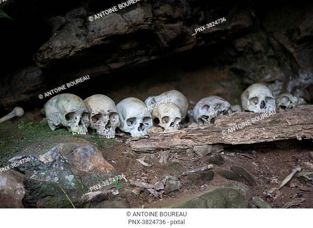 Human skulls in a cave, Tari, Papua New Guinea