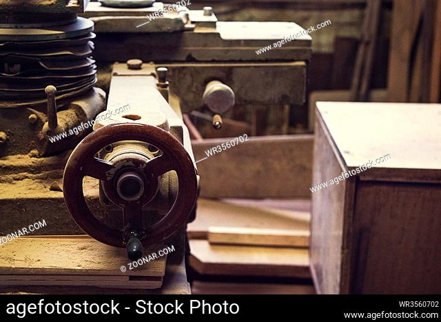 Sawmill. Closeup of wood machine for woodworking