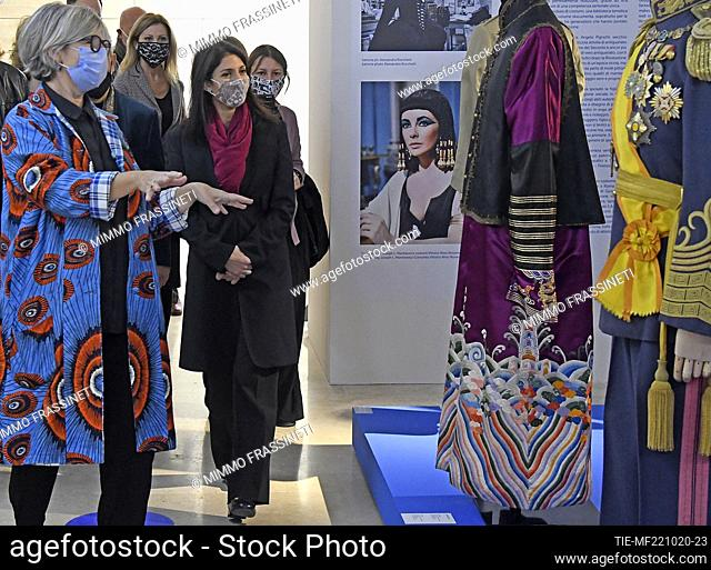 Mayor of Rome Virginia Raggi at 'Romaison 2020' exhibition featuring archives and creations from Rome's foremost costume design studios , Ara Pacis Museum, Rome