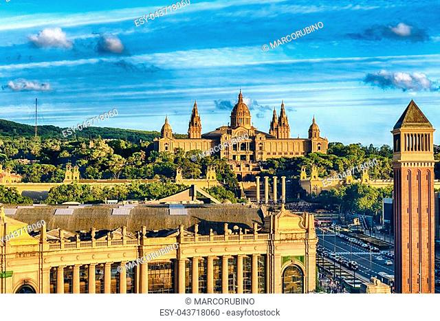 Aerial view of the National Art Museum of Catalonia, commonly abbreviated as MNAC, scenic landmark in Barcelona, Catalonia, Spain