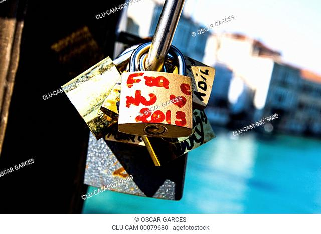 Locks of love, Rialto Bridge, Venice, Italy