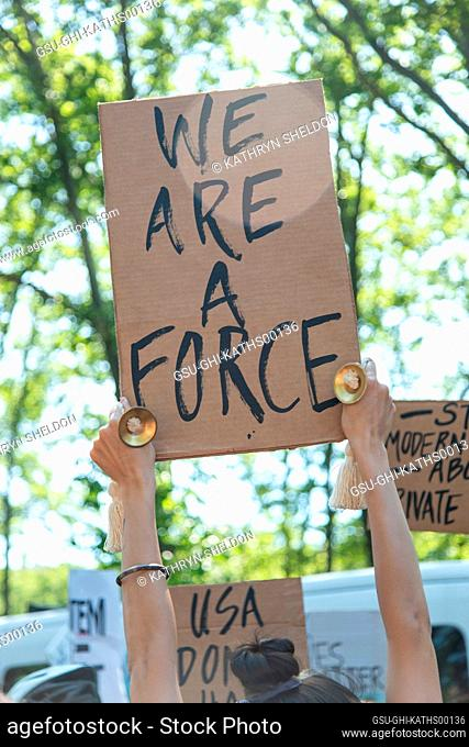 Protester Holding up Sign, We are a Force at Black Lives Matter March, McCarron Park, Brooklyn, New York, USA