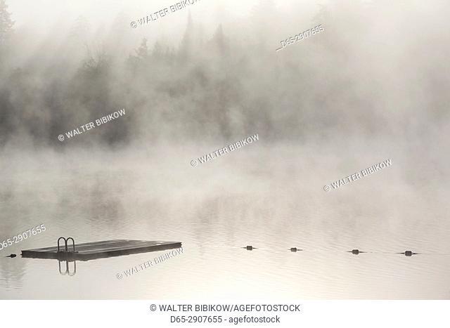USA New York Adirondack Mountains Lake Placid Mirror Float With Fog