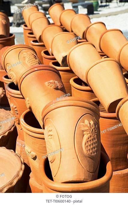 Rows of terra cotta pots