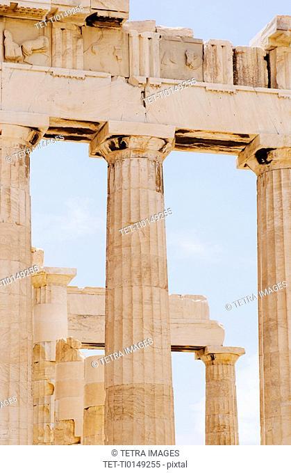 Greece, Athens, Acropolis, Doric columns of Parthenon