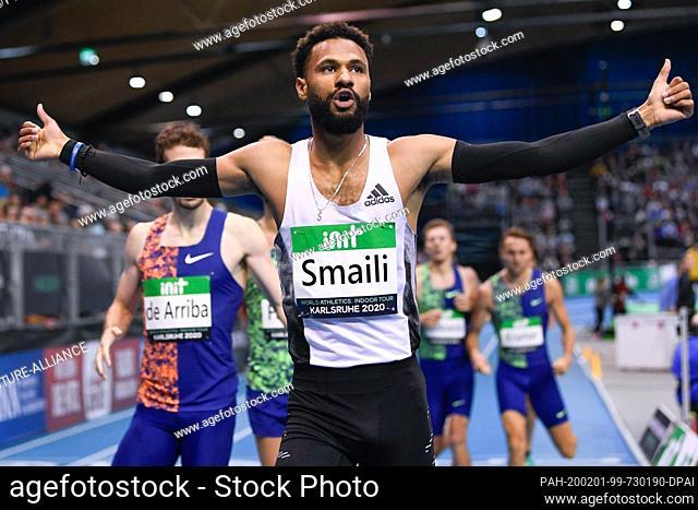 31 January 2020, Baden-Wuerttemberg, Rheinstetten: Athletics: INDOOR-Meeting Karlsruhe, Mostafa Smaili from Morocco wins the 800m final Photo: Tom Weller/dpa