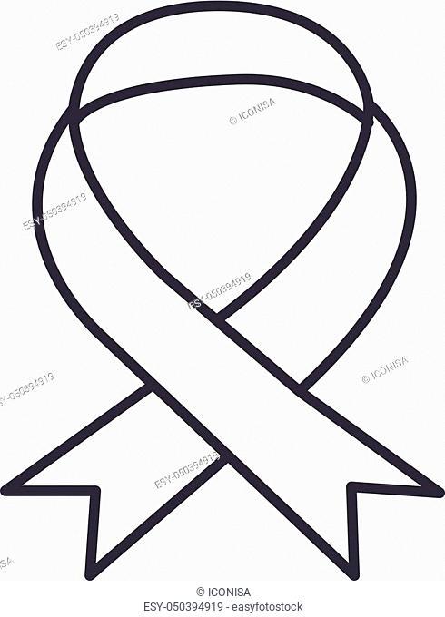 medical ribbon vector line icon, sign, illustration on white background, editable strokes