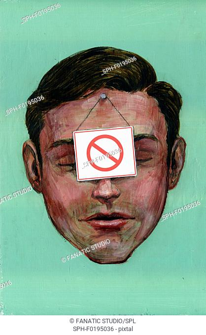 Illustration of businessman with do not use sign