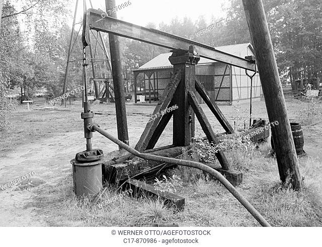 Eighties, black and white photo, economy, history, German Petroleum Museum, oil pump, D-Wietze, Lueneburg Heath, Lower Saxony