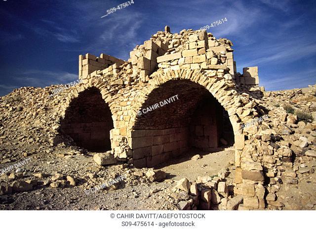The ruined catacombs of Shobak castle, Shobak, Jordan