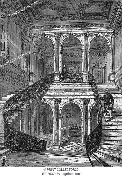 The grand staircase, Chesterfield House, Mayfair, Westminster, London, c1875 (1878). Artist: Unknown