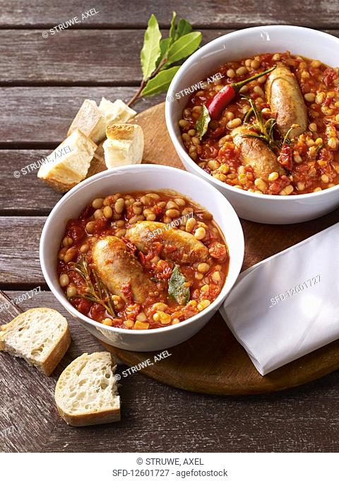 Spicy bean stew with sausages