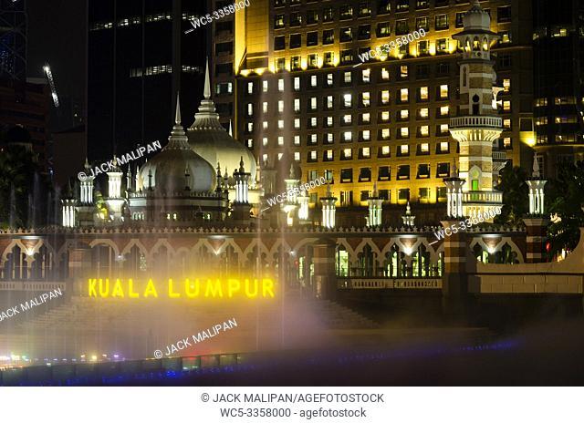 Jamek Mosque landmark in River of Life area of Kuala Lumpur city Malaysia at night