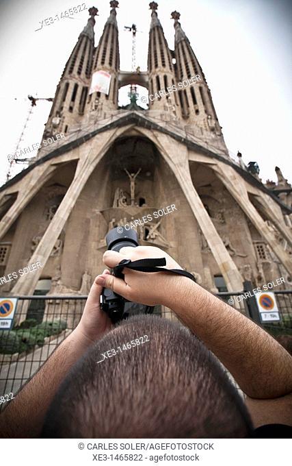 Tourist photo, Barcelona, Spain