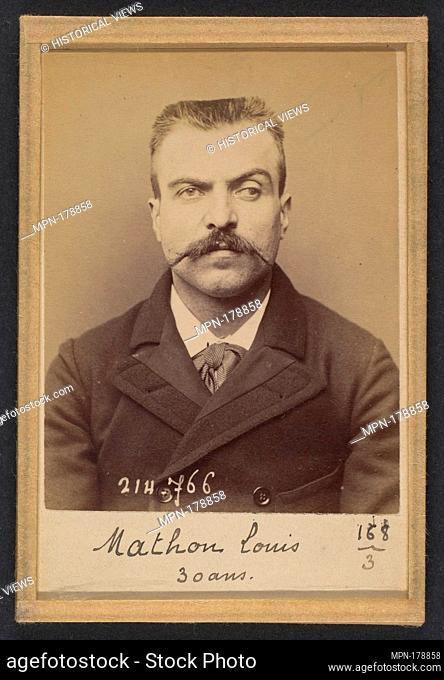Mathon. Louis Marius. 30 ans, né à St Andiolle (Ardèche). Ferblantier. Anarchiste. 26/2/94. Artist: Alphonse Bertillon (French