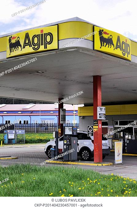 Hungarian oil firm MOL buys 124 Agip stations in the Czech Republic from the Italian company Eni. Petrol station Agip is seen in Hladov, Jihlava Region