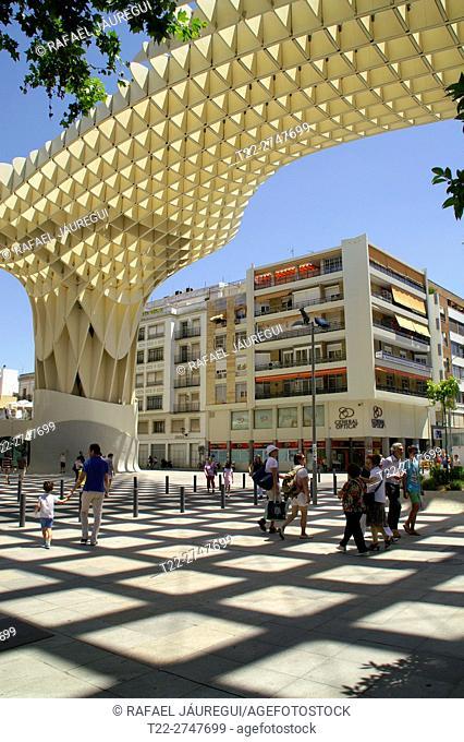 Sevilla (Spain). Plaza de la Encarnación and Metropol Parasol in Seville