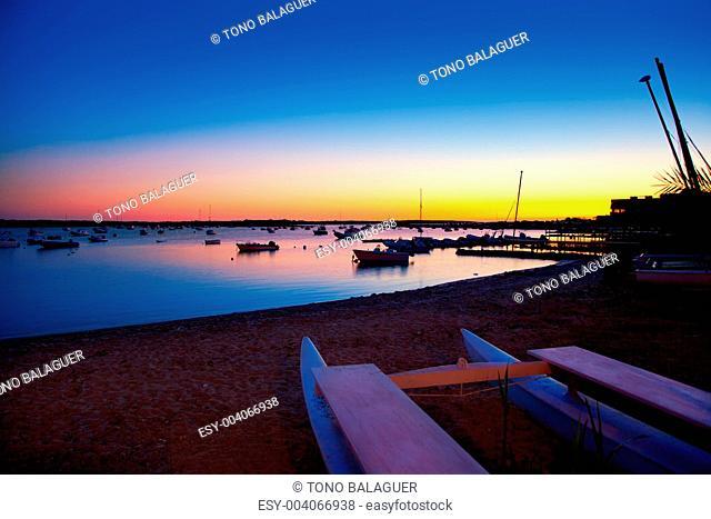 Formentera sunset in se estany des peix