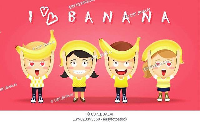 happy people carrying big bananas