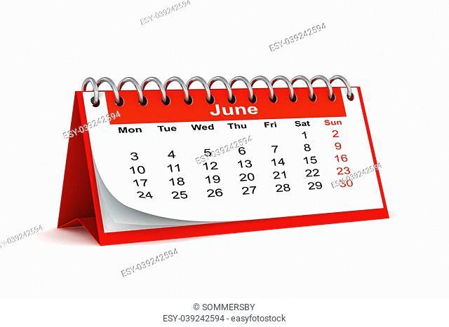 3d red desk paper 2013 year calendar - month of june