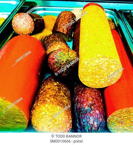 Salami varieties on display at delicatessen
