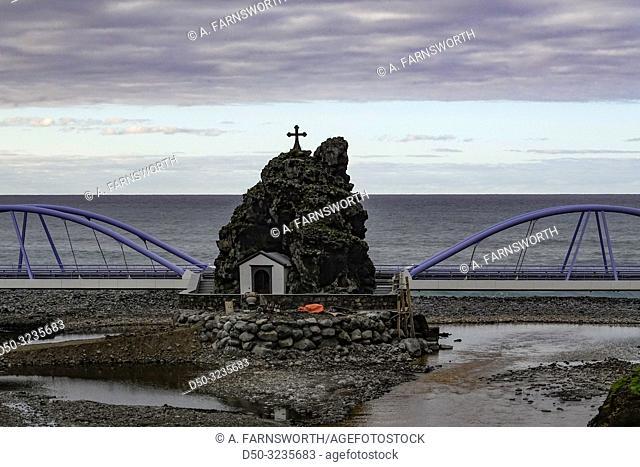 Sao Vicente, Madeira, Portugal A bridge on the coastal road overlooking the Atlantic