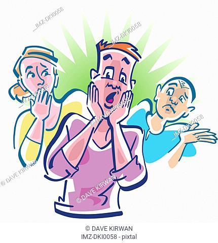 Three surprised people