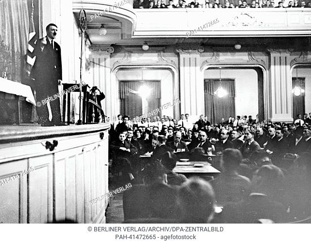 The image from the Nazi Propaganda! shows an assembly, in which Hitler was invited to deliver a speech dealing with the trajectory of the new Germany and the...
