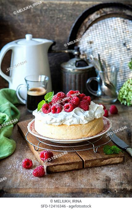 Angel food cake with whipped cream