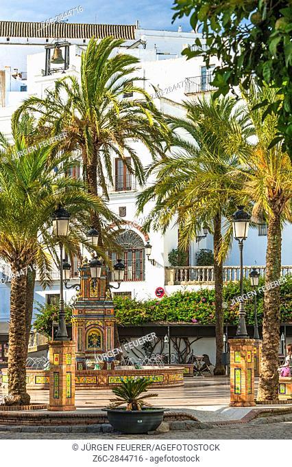 Plaza de España in Vejer de la Frontera, White Towns of Andalusia, Pueblos Blancos, province of Cádiz, Spain
