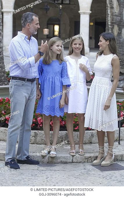 King Felipe VI of Spain, Queen Letizia of Spain, Crown Princess Leonor, Princess Sofia pose for the photographers during the summer session at Almudaina Palace...