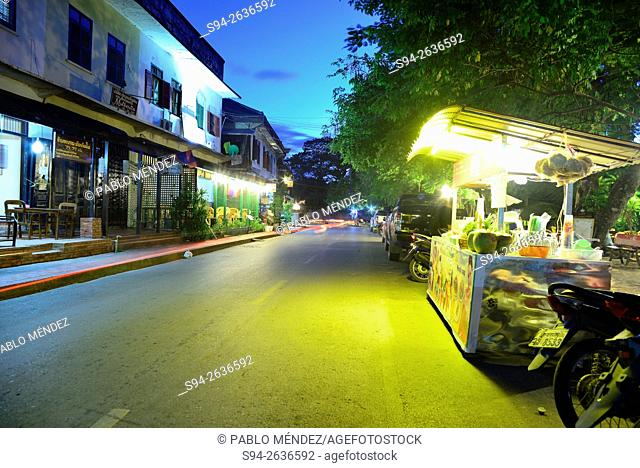 Khem Khong street at nightfall in Luang Prabang, Laos