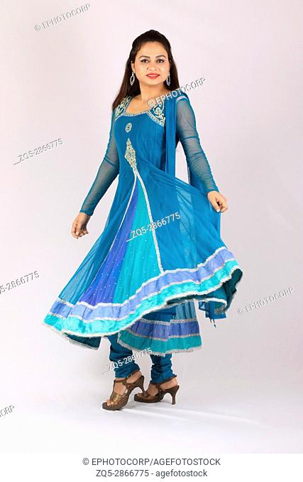 Woman in Punjabi Salwar Kameez and Dupata. Traditional North Indian dress