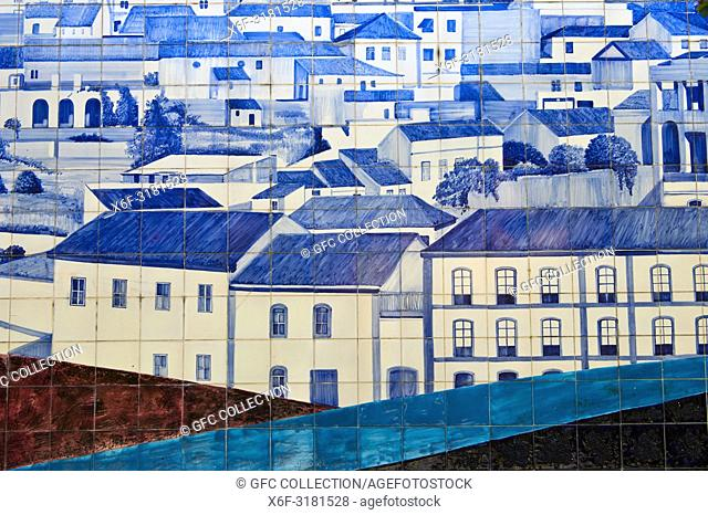 Rooftop view of Monchique, azulejo, mosaic of ceramic tiles, Monchique, Algarve, Portugal