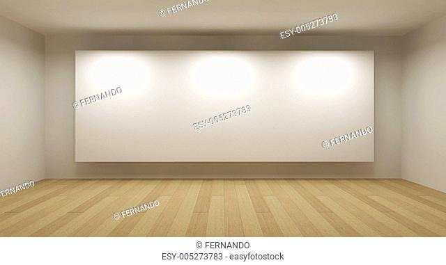 Empty room with white frame, art gallery concept, 3d illustratio