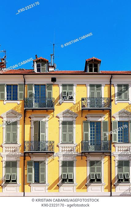 Facade of a neoclassical building, Nice, France, Europe