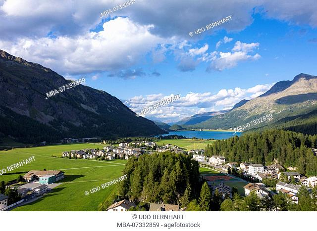 View of Sils Maria and Lake Silvaplana, Sils, near St. Moritz, Maloja region, Upper Engadine, Grisons, Switzerland