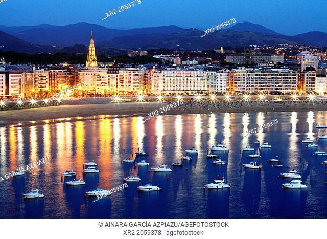 Panoramic view of Concha bay, Donostia - San Sebastian, Basque Country