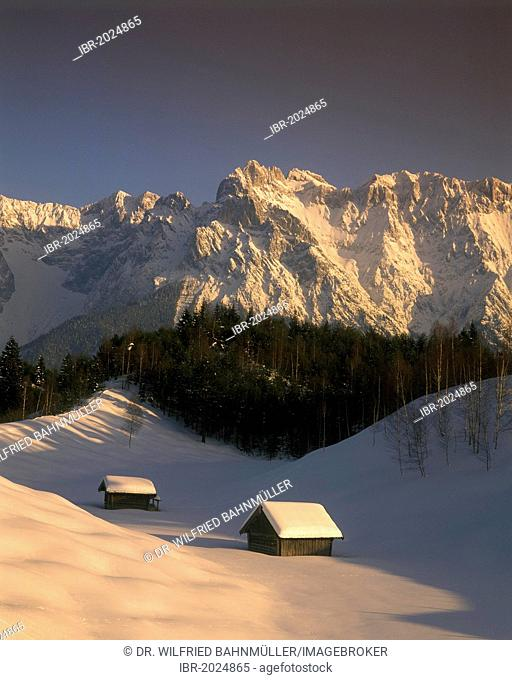 Karwendel Mountains with snow in the evening light, near Mittenwald, Upper Bavaria, Bavaria, Germany, Europe
