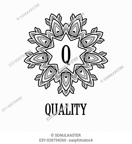 Monogram design. Vector floral outline frame or border - abstract logo template for spa, floral shops and cosmetics. Isolated. Line art design