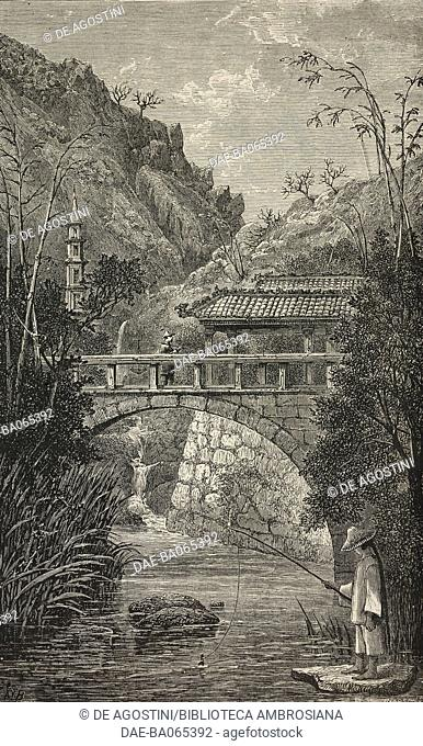 A fisherman on Chock Sing Toon, island near Macao, China, engraving from Voyage d'une famille autour du monde, by Lady Brassey